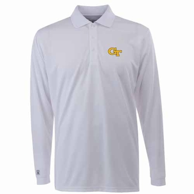 Georgia Tech Mens Long Sleeve Polo Shirt (Color: White)