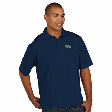 Georgia Tech Mens Pique Xtra Lite Polo Shirt (Color: Navy)