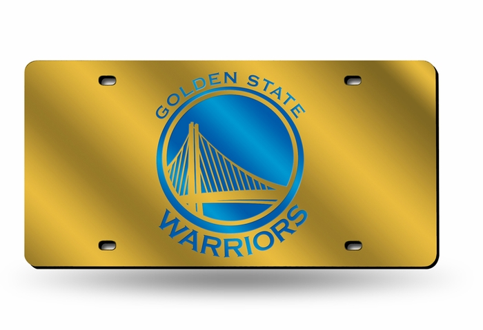 0f824275848128 Golden State Warriors Deluxe Mirrored Laser Cut License Plate