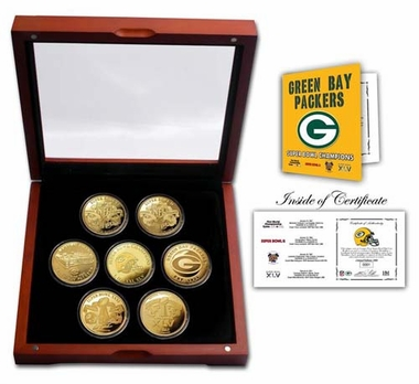 Green Bay Packers Green Bay Packers 24KT Gold plated 7 Coin Super Bowl Champions Set