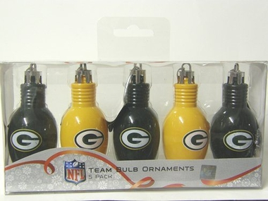 Green Bay Packers 5 Pack Bulb Ornaments
