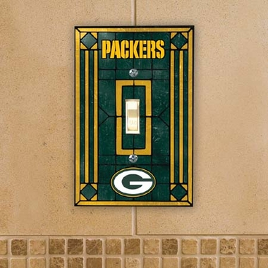 Green Bay Packers Art Glass Lightswitch Cover