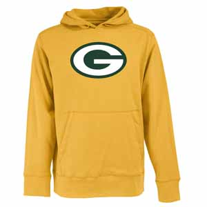 Green Bay Packers Big Logo Mens Signature Hooded Sweatshirt (Color: Gold) - Small