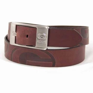 Green Bay Packers Brown Leather Brandished Belt