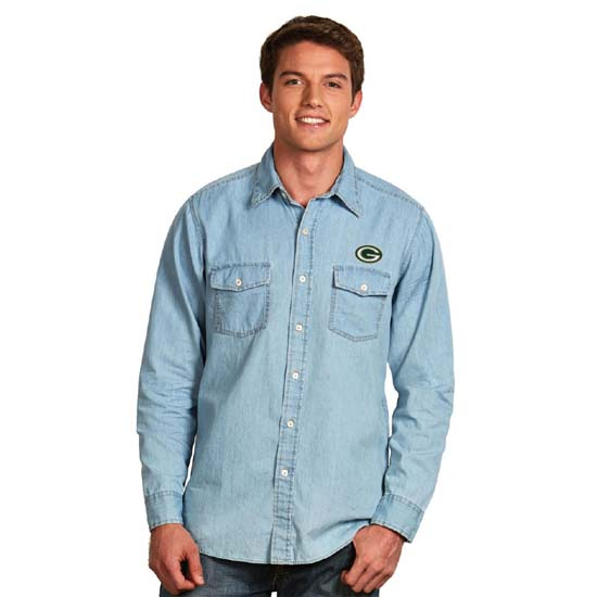 green bay packers mens chambray denim l s button down