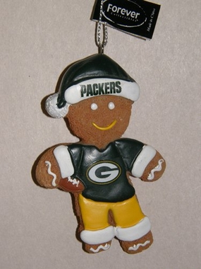 Green Bay Packers Gingerbread Man Christmas Ornament