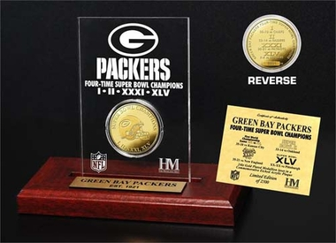 Green Bay Packers Green Bay Packers 4-Time Champions 24KT Gold Coin Engraved Acrylic Desk Top