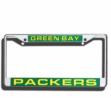 Green Bay Packers Laser Etched Chrome License Plate Frame