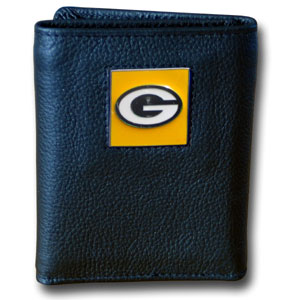 Green Bay Packers Leather Trifold Wallet (F)