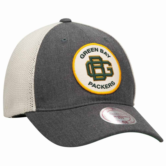 87285d774bb Green Bay Packers Mitchell   Ness Patch Mesh Back Slouch Adjustable Hat