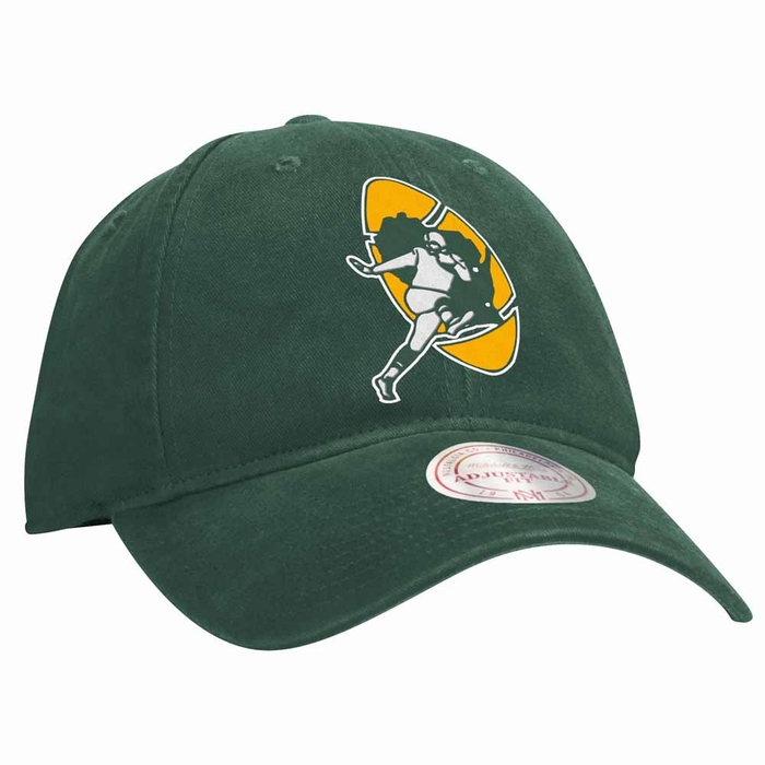 213ccce319e Green Bay Packers Mitchell   Ness Throwback Felt Logo Slouch Adjustable Hat