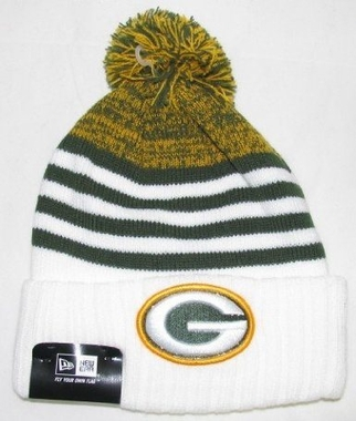 Green Bay Packers New Era NFL Snowfall Stripe Cuffed Knit Hat