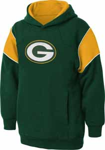 Green Bay Packers NFL YOUTH Color Block Pullover Hooded Sweatshirt - Large