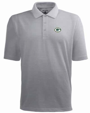 Green Bay Packers Mens Pique Xtra Lite Polo Shirt (Color: Silver)