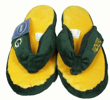 Green Bay Packers Plush Thong Slippers
