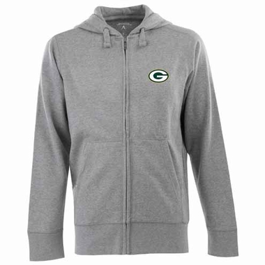 Green Bay Packers Mens Signature Full Zip Hooded Sweatshirt (Color: Silver)
