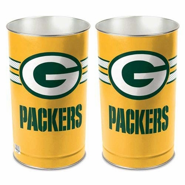 """Green Bay Packers 15"""" Waste Basket - Gold"""