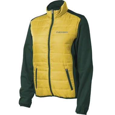 Green Bay Packers Women's Everest Full Zip Quilted Front Panel Jacket