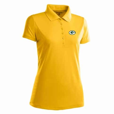 Green Bay Packers Womens Pique Xtra Lite Polo Shirt (Color: Gold)