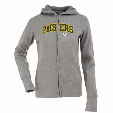 Green Bay Packers Applique Womens Zip Front Hoody Sweatshirt (Color: Gray)
