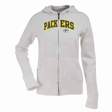 Green Bay Packers Womens Applique Zip Front Hoody Sweatshirt (Color: White)
