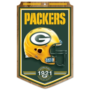 "Green Bay Packers Wood Sign - 11""x17"" Established Design"