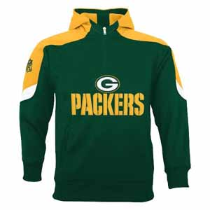 Green Bay Packers YOUTH Kick Off 1/4 Zip Performance Hoody - Medium