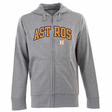Houston Astros Mens Applique Full Zip Hooded Sweatshirt (Color: Gray)
