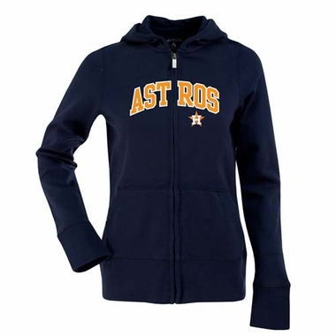 Houston Astros Womens Applique Zip Front Hoody Sweatshirt (Color: Navy)