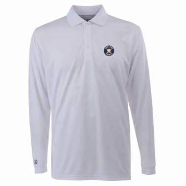 Houston Astros Mens Long Sleeve Polo Shirt (Color: White)