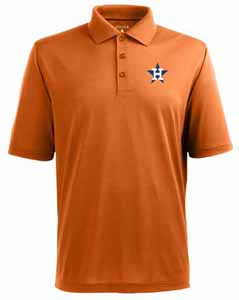 Houston Astros Mens Pique Xtra Lite Polo Shirt (Cooperstown) (Color: Orange) - Small