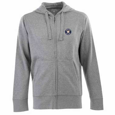 Houston Astros Mens Signature Full Zip Hooded Sweatshirt (Color: Silver)
