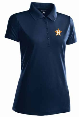Houston Astros Womens Pique Xtra Lite Polo Shirt (Cooperstown) (Color: Navy)