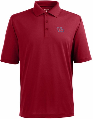 Houston Mens Pique Xtra Lite Polo Shirt (Color: Red)