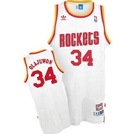 Houston Rockets Hakeem Olajuwon Adidas White Throwback Replica Premiere Jersey - Medium