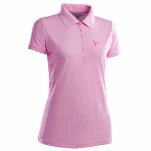 Houston Texans Womens Pique Xtra Lite Polo Shirt (Color: Pink) - Medium