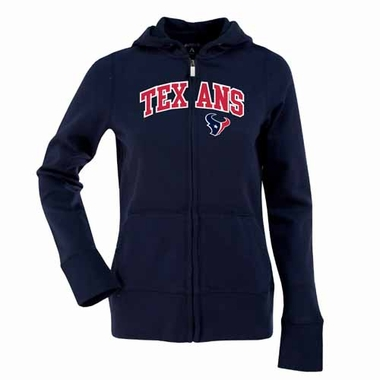 Houston Texans Applique Womens Zip Front Hoody Sweatshirt (Color: Navy)