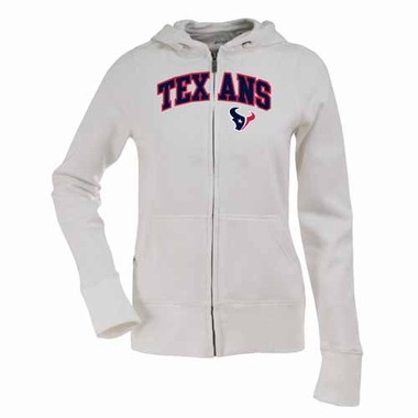 Houston Texans Womens Applique Zip Front Hoody Sweatshirt (Color: White)