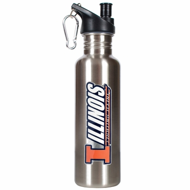 Illinois 26oz Stainless Steel Water Bottle (Silver)