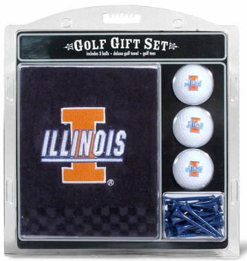 Illinois Embroidered Towel Golf Gift Set