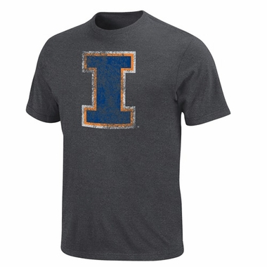 Illinois Fan Since Birth Charcoal Distressed T-Shirt