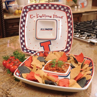 Illinois Gameday Ceramic Chip and Dip Platter