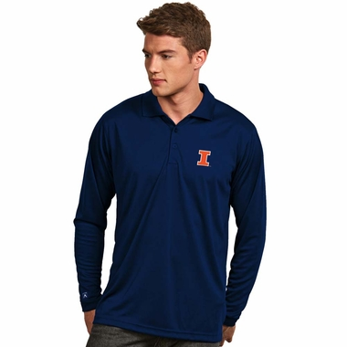 Illinois Mens Long Sleeve Polo Shirt (Color: Navy)