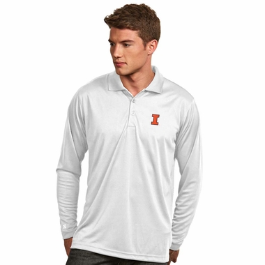 Illinois Mens Long Sleeve Polo Shirt (Color: White) - XXX-Large