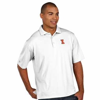 Illinois Mens Pique Xtra Lite Polo Shirt (Color: White)