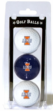 Illinois Set of 3 Multicolor Golf Balls