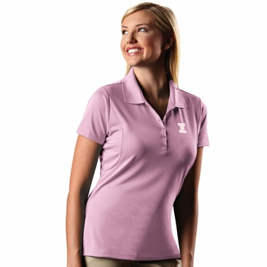 Illinois Womens Pique Xtra Lite Polo Shirt (Color: Pink) - Large