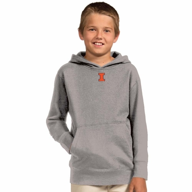 Illinois YOUTH Boys Signature Hooded Sweatshirt (Color: Silver)