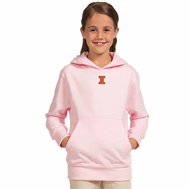 Illinois YOUTH Girls Signature Hooded Sweatshirt (Color: Pink)