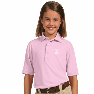 Illinois YOUTH Unisex Pique Polo Shirt (Color: Pink)